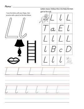 D'Nealian Letter Trace Practice Page - Ll
