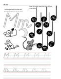 D'Nealian Letter Trace Practice Page - Mm