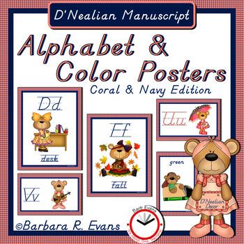 D'Nealian Manuscript ALPHABET & COLOR POSTERS: Coral & Navy Edition