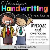 D'Nealian Manuscript Handwriting Practice Pages