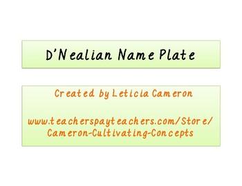 D'Nealian Name Plate