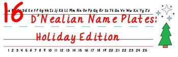 D'Nealian Name Plates: Holiday Edition