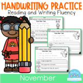 D'Nealian November Handwriting Practice