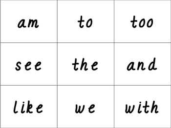D'Nealian Sight Word Cards