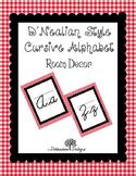 D'Nealian Style Cursive Alphabet Red Gingham Border Classroom Decor