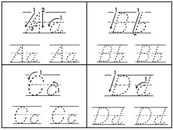 D'Nealian Trace the Alphabet 4x5 Cards. Preschool-2nd Grad