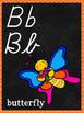 D'Nealian and Cursive Chalkboard Alphabet Neon Background