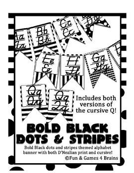 D'Nealian manuscript and cursive Alphabet banner Black&Bold