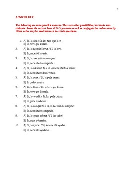 D. O. Pronoun worksheet (preterite) Realidades 2 Ch. 3A