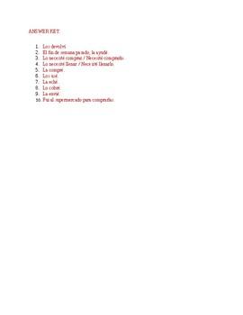D.O. pronoun practice (Realidades 2 Ch. 3A) Worksheet