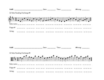 D String Note Reading Exercises