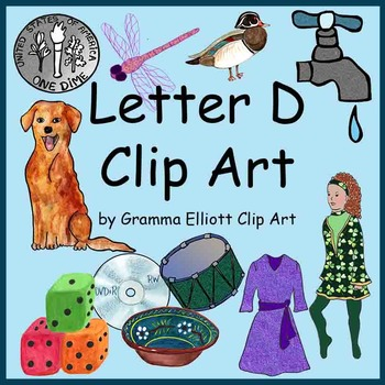 Clip Art - Letter D - Initial Sounds - Realistic Style - Color and Black Line