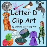 Clip Art - Letter D - Initial Sounds - Realistic Style - Color and Black Line