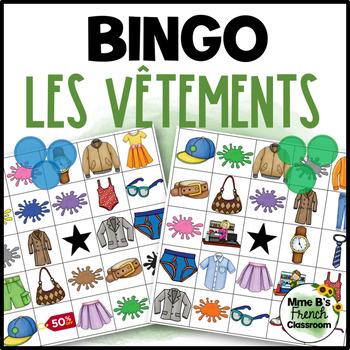 D'accord 1 Unité 6 (6B): Clothing and Colors Bingo