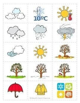 D'accord 1 Unité 5 (5B): Jeu de mémoire: Le temps et les saisons
