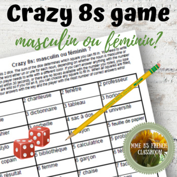 D'accord 1 Unité 1 (1B): Crazy 8s Game for practicing un and une