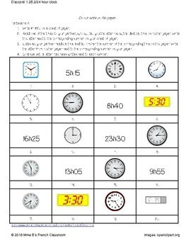 D'accord 1 Unité 2 (2B): Telling time partner matching game