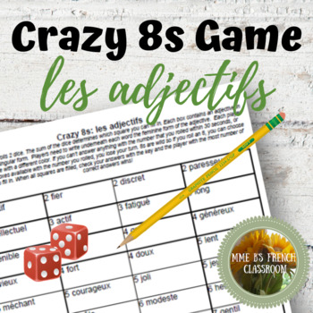 D'accord 1 Unité 3 (3A): Crazy 8s Game: adjectives masculine to feminine