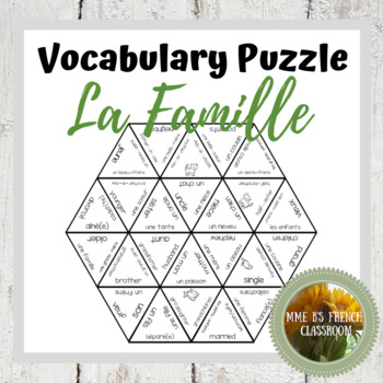 D'accord 1 Unité 3 (3A) Vocabulary puzzle: la famille