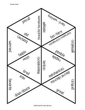 D'accord 1 Unité 3 (3B) Vocabulary puzzle: les adjectifs