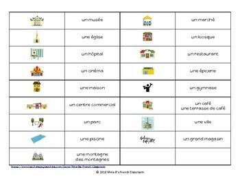 D'accord 1 Unité 4 (4A): Vocabulary 4-In-A-Row Game: En ville