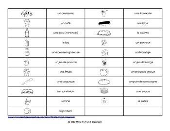D'accord 1 Unité 4 (4B): 4-In-A-Row game Au café/la nourriture