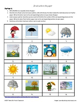 Weather and Seasons partner matching activity: French or Spanish