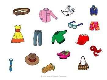 D'accord 1 Unité 6 (6B): Clothing pictures