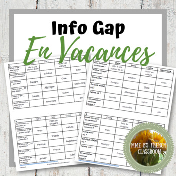 D'accord 1 Unité 7 (7A): Les vacances Info Gap
