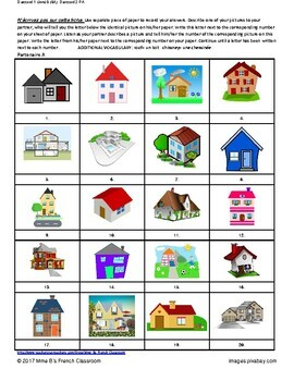 D'accord 1 Unité 8 (8A): Houses partner matching game
