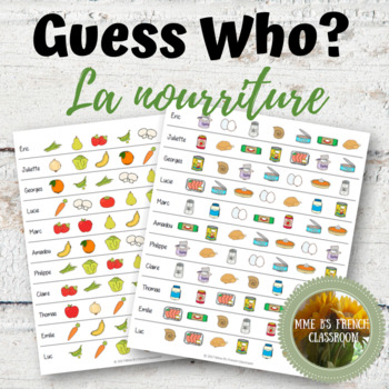 D'accord 2 1A: Guess Who?  A partner game to practice food vocabulary