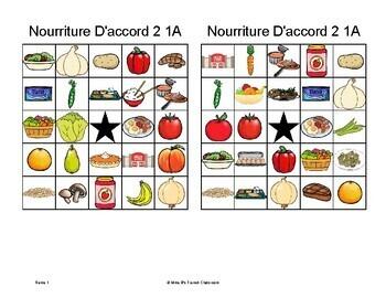 D'accord 2 Unité 1 (1A): La Nourriture Bingo