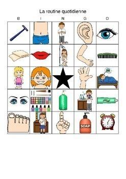 D'accord 2 Unité 2 (2A): La routine quotidienne Bingo
