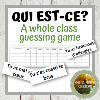 D'accord 2 Leçon 2B: Qui est-ce? A speaking game to practice health vocabulary