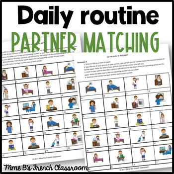 D'accord 2 Unité 2 (2A): La routine quotidienne partner matching game