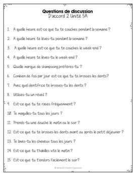 D'accord 2 Unité 2 (2A)  Questions de Discussion: La routine quotidienne
