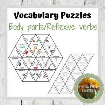 D'accord 2 Unité 2 (2A)  Vocabulary puzzles: Body parts and reflexive verbs