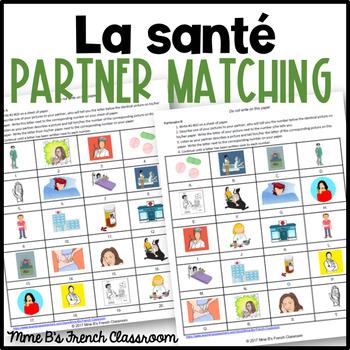 D'accord 2 Unité 2 (2B):  J'ai mal!  Partner matching game