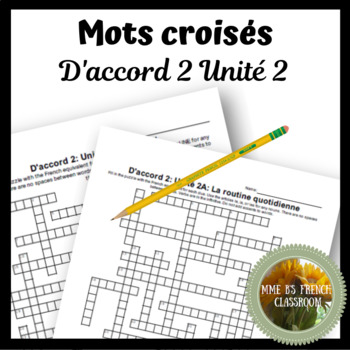 D'accord 2 Unité 2 Crossword puzzles