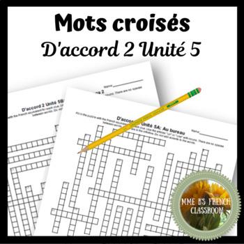 D'accord 2 Unité 5 Crossword puzzles