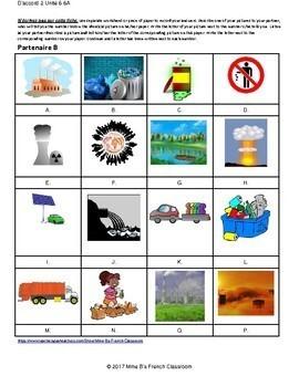 D'accord 2 Unité 6 (6A):  Environnement  Partner matching game
