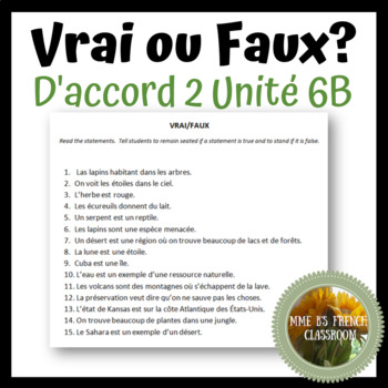 D'accord 2 Unité 6 (6B): Vrai ou Faux? avec vocabulaire