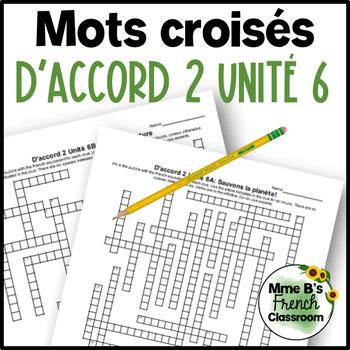 D'accord 2 Unité 6 Crossword puzzles