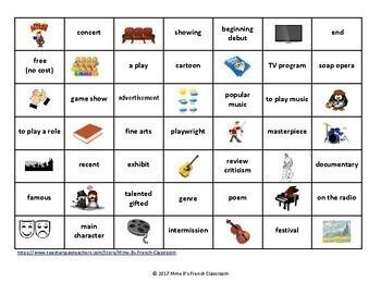 D'accord 2 Unité 7: Connect 4-style game: les arts vocabulary
