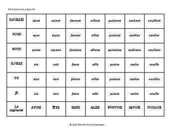 D'accord 2 Unité 7: Connect 4-style writing game with the Subjunctive