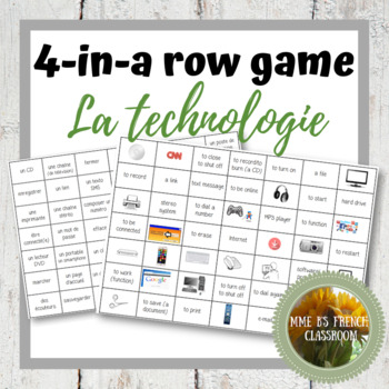 D'accord 2 Unité 3 (3A) Connect 4-style game with technology vocabulary