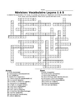 D'accord 3 Crossword Puzzle: Leçons 1 to 5