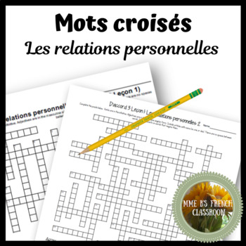 D'accord 3 Leçon 1 vocabulary crossword puzzle