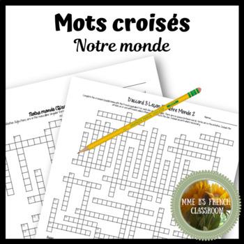 """D'accord 3 Leçon 10: """"Notre monde"""" Crossword puzzle"""