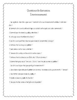 D'accord 3 Leçon 10 Questions de Discussion: Environnement